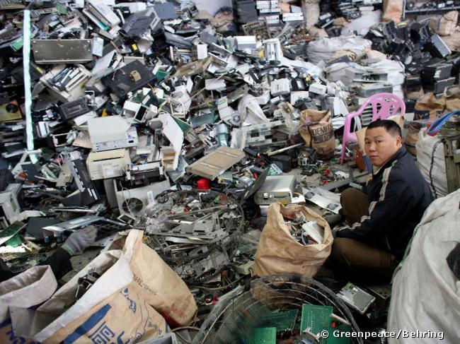 Décharge de déchets électroniques à Guiyu en Chine.